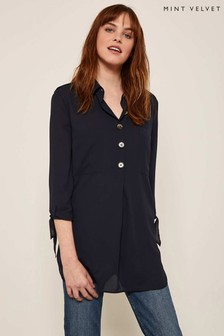 Mint Velvet Blue Button Front Tunic