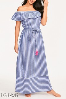 Figleaves Grey Stripe Hanna Off Shoulder Maxi Dress