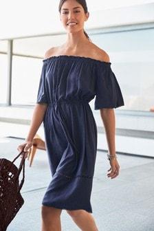 שמלה ללא כתפיות מג'קארד Palm