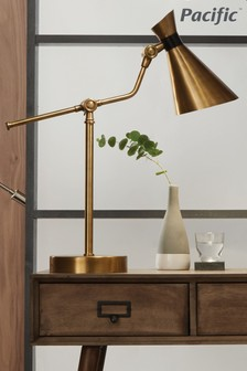 Wendell Antique Brass Metal Conical Table Lamp by Pacific Lifestyle