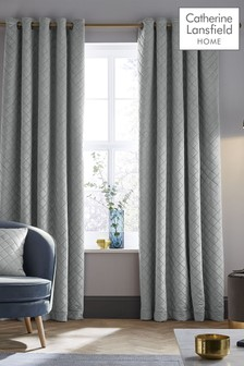 Catherine Lansfield Silver Velvet Curtains
