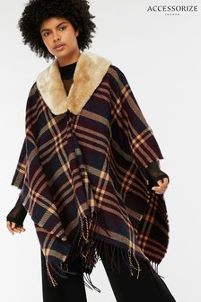 Accessorize Burgundy Check Faux Fur Trim Poncho