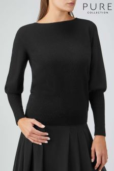 Pure Collection Black Toccato Puff Sleeve Sweater