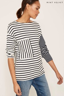 Mint Velvet White Contrast Sleeve Stripe Long Sleeve Tee