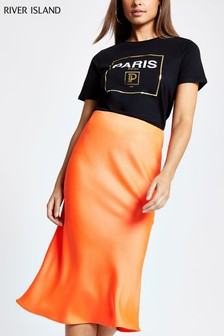 River Island Coral Bias Cut Fluro Skirt