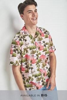 Short Sleeve Hawaiian Scene Print Shirt