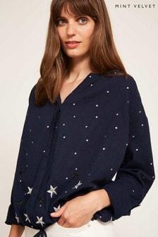 Mint Velvet Blue Star Embroidered Blouson