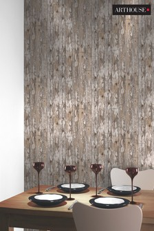 Cabin Wood Brick Wallpaper by Arthouse