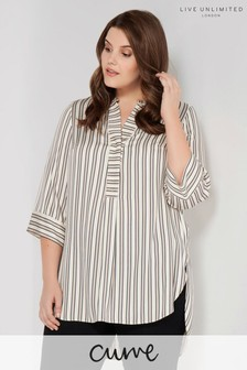 Live Unlimited Ivory Ginger Stripe Blouse