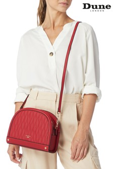 Dune London Red Plain Synthetic Delluna Quilt Crescent Bag