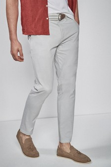 Lightweight Belted Trousers With Stretch