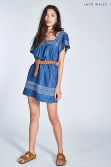 Vestido bordado en añil medio Heatherington de Jack Wills
