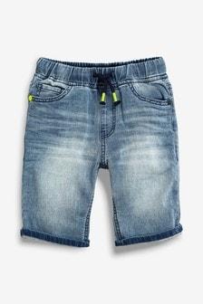平織丹寧鬆緊短褲 (3-16歲)