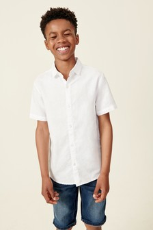 Short Sleeve Linen Mix Shirt (3-16yrs)