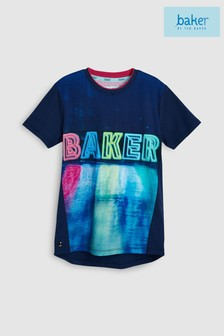 baker by Ted Baker Blue Reflective Short Sleeve Baker Logo Tee