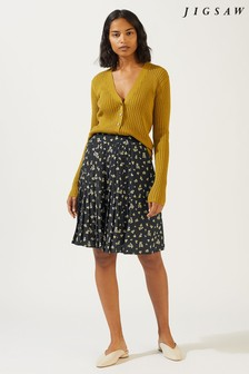 Jigsaw Black Forget Me Not Pleated Skirt