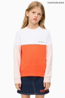 Calvin Klein Jeans Sweatshirt in Blockfarben, rosa