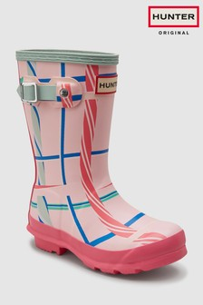 Hunter Pink Original Rock Tartan Welly
