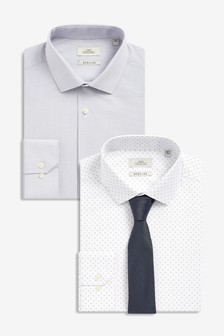 Regular Fit Textured And White Print Shirts Two Pack With Tie
