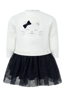 Baby Girls White/Navy Kitten Cotton Dress