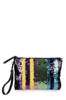 Oliver Bonas Metallic Rainbow Line Sequin Clutch Bag