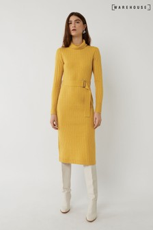 Warehouse Yellow Wide Rib Belted Dress