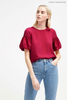 French Connection Red Puff Sleeve Top