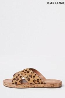 River Island Brown Leopard Print Suede Cross Strap Sandal