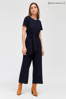 Warehouse Blue Side Knot Jumpsuit