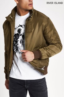 River Island Khaki Racer Neck Jacket