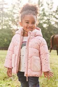Shower Resistant Padded Faux Fur Pocket Jacket (3mths-7yrs)