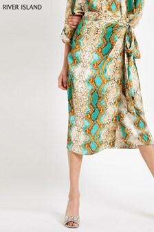 River Island Green Snake Skirt