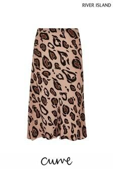 River Island Curve Leopard Print Bias Skirt