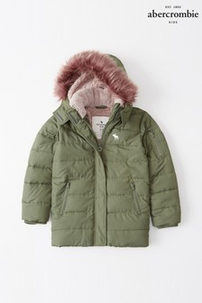 Abercrombie & Fitch Olive Parka Coat