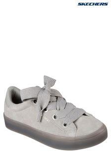 Skechers® Grey Suede Satin Fat Lace Fashion Sneaker