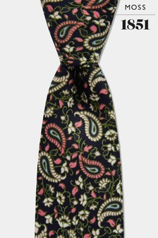Moss London Navy/Pink Paisley Leaf Print Tie