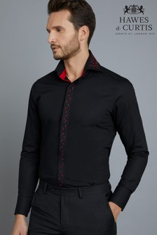 Hawes & Curtis Black Slim Fit High Collar Shirt