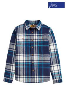Joules French Navy Over Check Brushed Cotton Shirt