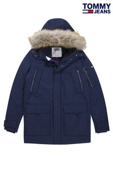 Tommy Jeans Blue Hooded Parka