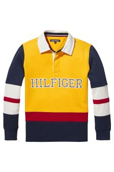 Tommy Hilfiger Yellow Cut And Sew Rugby Top