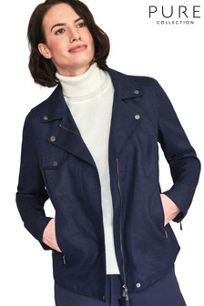 Pure Collection Blue Linen Biker Jacket