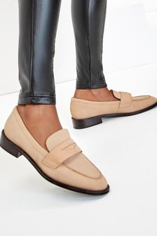 Leather Almond Toe Loafers