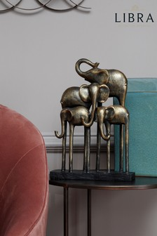 Libra Antique Group Of Elephants Sculpture