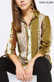 River Island Petite Brown Chain Print Boyfriend Shirt