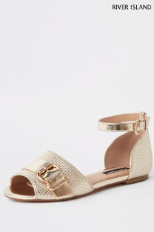 River Island Gold Two Part Heel Shoe