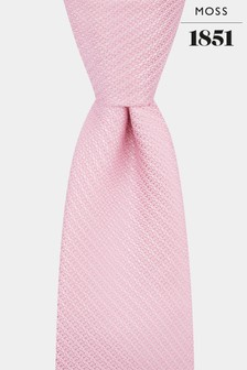 Moss 1851 Pink Knit Texture Tie