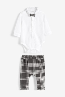 Three Piece Smart Shirt Bodysuit, Bow Tie And Trouser Set (0mths-2yrs)