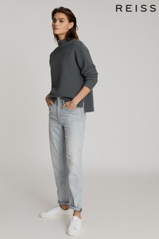 Reiss Blue Lila Ribbed High Neck Jumper