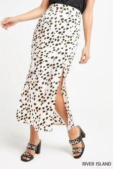 River Island White Spot Wrap Midi Skirt