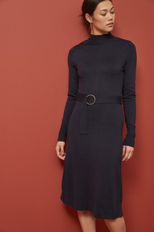 Belted Funnel Neck Jumper Dress
